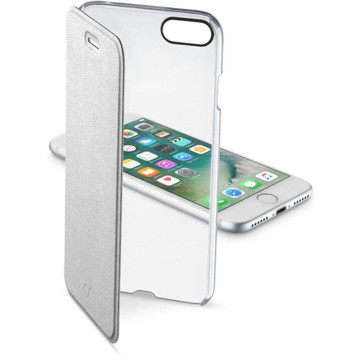 CELLULAR LINE Flipcover Clear Book (iPhone SE, iPhone 8, iPhone 7, Transparent, Argent)