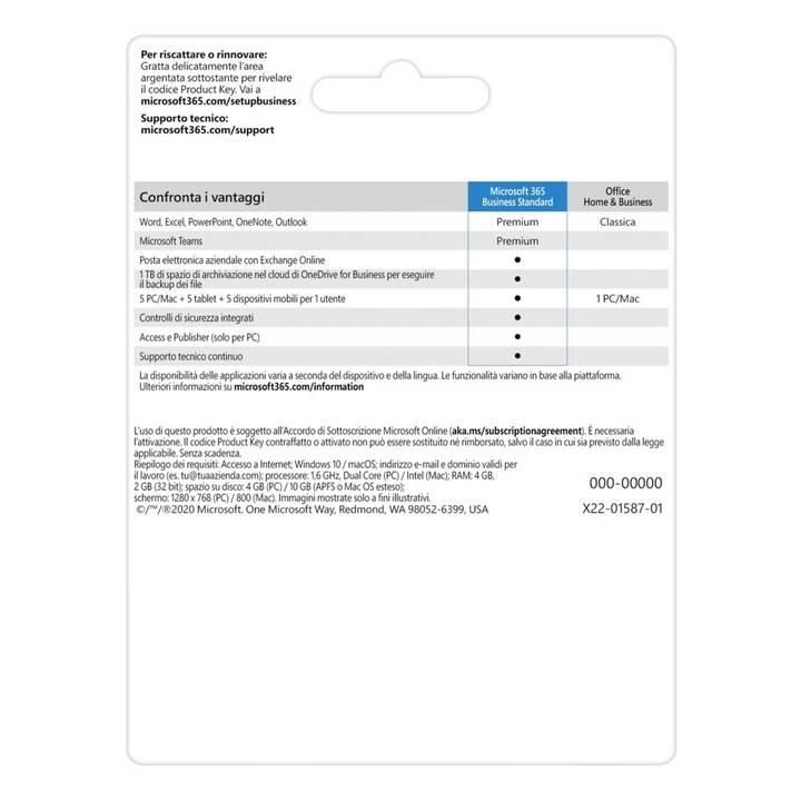 MICROSOFT 365 Business Standard (Abo, 1x, 1 Jahr, Italienisch)