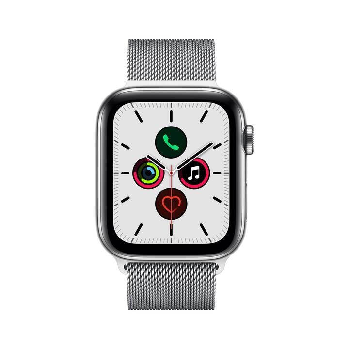 APPLE Watch Series 5 GPS + LTE Stainless Steel/Stainless Steel (44 mm, Edelstahl, Edelstahl)
