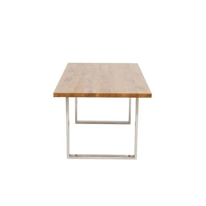 KARE Table de repas Jackie Eiche Chrom (200 cm x 100 cm x 76 cm, Brun, Métal)