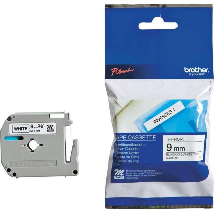 BROTHER P-Touch Schriftbandkassette (9 mm x 4 m, Schwarz / Weiss)