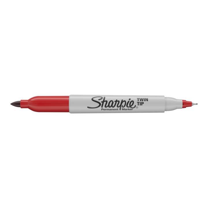 SHARPIE Fineliner Marcatore permanente a doppia punta, 1 mm, rosso