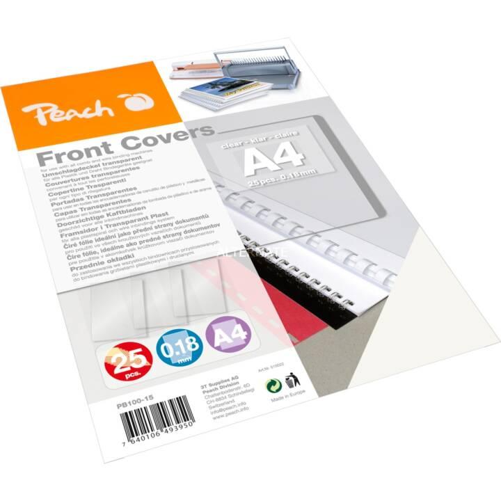 PEACH Frontseite Einbanddeckel, A4, Transparent, 25 Stk.