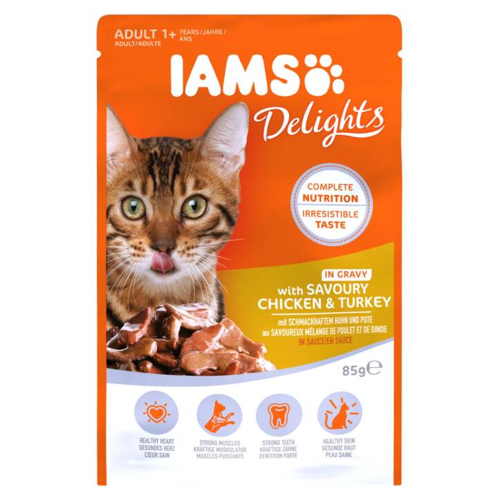 IAMS Delights (Adulte, 85 g, Poule, Dindon)