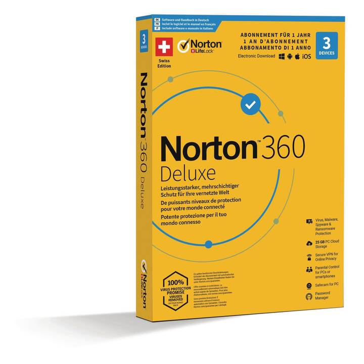 NORTON 360 Deluxe - Promotion Box 3 Devices (Versione completa, Multilingue)