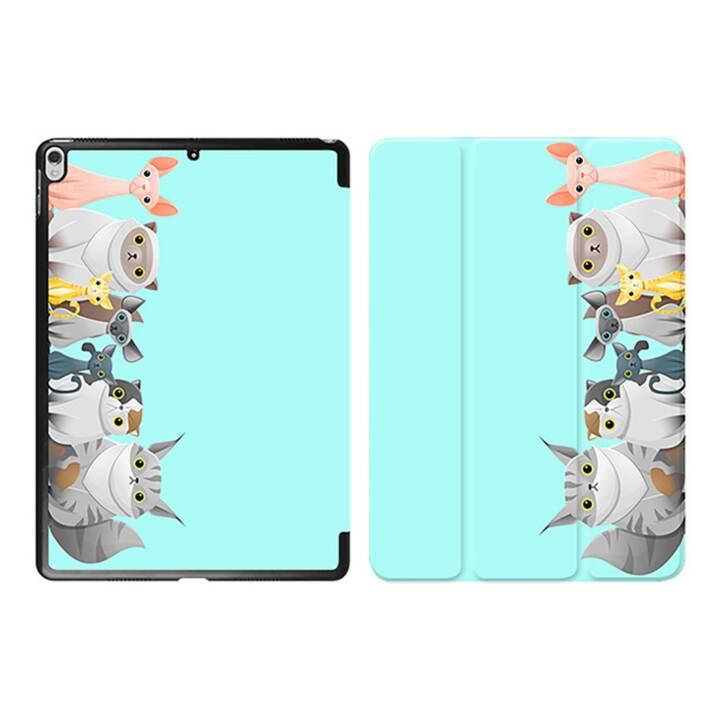 "EG iPad Cover pour Apple iPad Pro 10.5"" - Tiffany Blue Cartoon Cats"