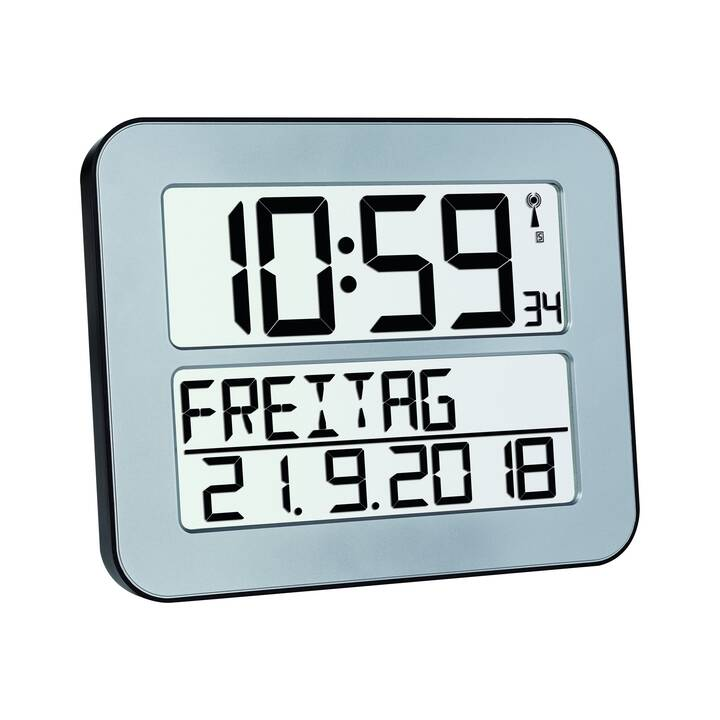 TFA Timeline Max Digitale Wanduhr (258 mm, Silber)