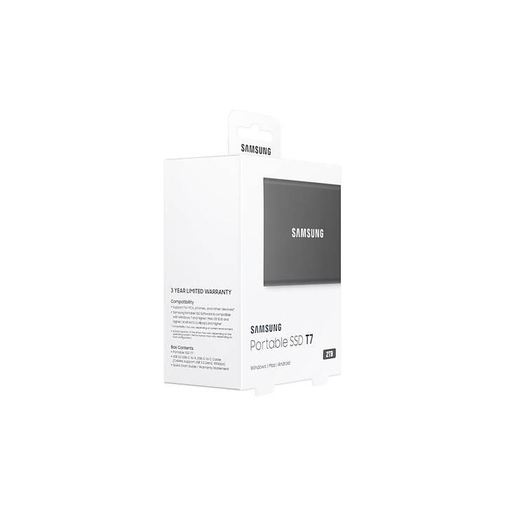 SAMSUNG Portable SSD T7 (USB Tipo C, 2000 GB, Grigio)