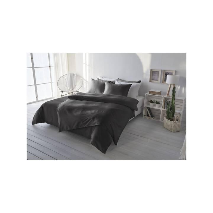 LIVING HOME Copripiumone Uni Satin (240 cm x 240 cm, Antracite)