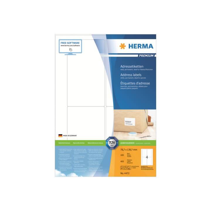 Etiquettes d'adresse HERMA Premium A4 78,7x139,7 mm