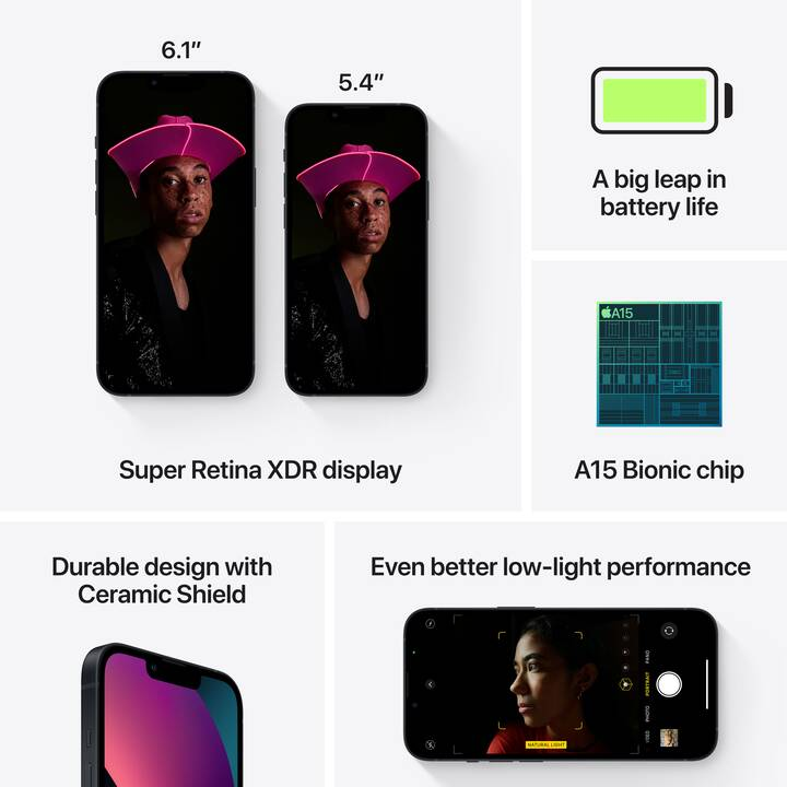 "APPLE iPhone 13 mini (5G, 128 GB, 5.4"", 12 MP, Mitternacht)"