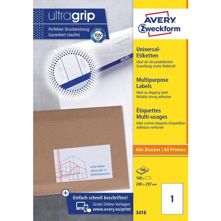 AVERY ZWECKFORM 3418 Ultragrip Etichette (100 foglio, A4)