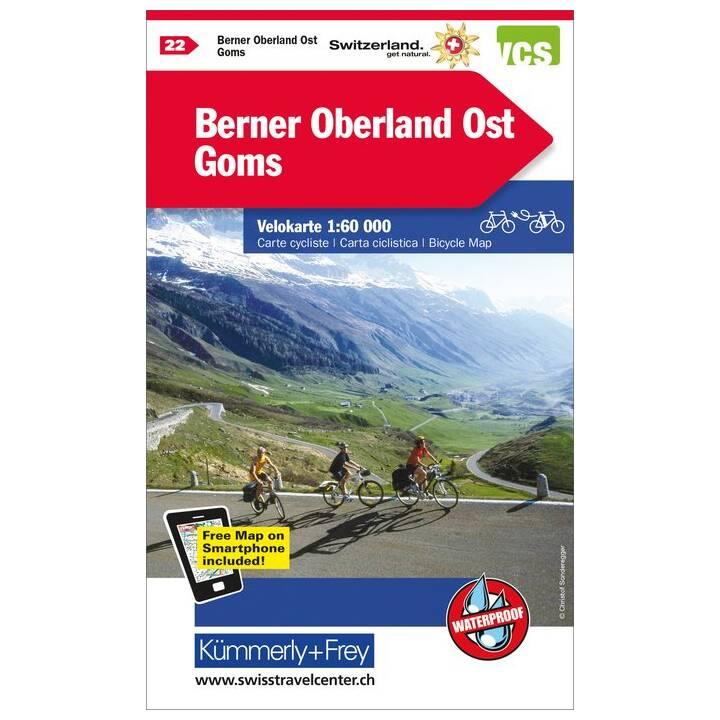 Berner Oberland Ost - Goms Velokarte Nr. 22. 1:60'000