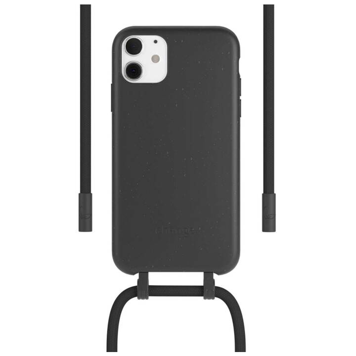 WOODCESSORIES Backcover avec cordon Change Case (iPhone 11, Antibactérien, Noir)
