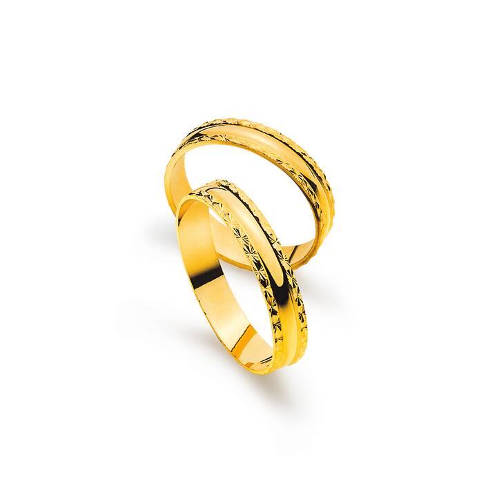 MUAU Matrimonio band (50, Oro giallo)