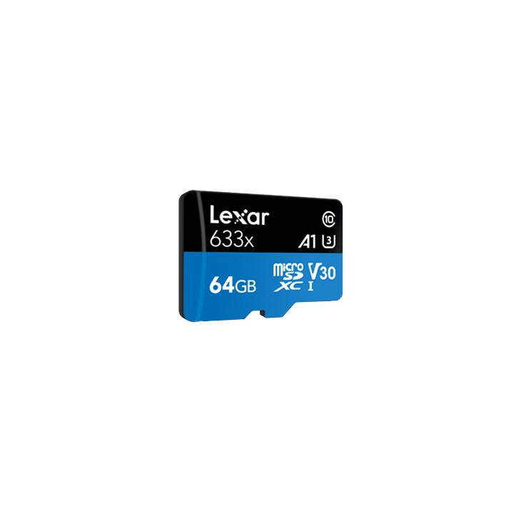 LEXAR MEDIA SDXC UHS-I High Performance  (A1, Video Class 30, UHS-I Class 3, Class 10, 64 GB, 95 Mo/s)