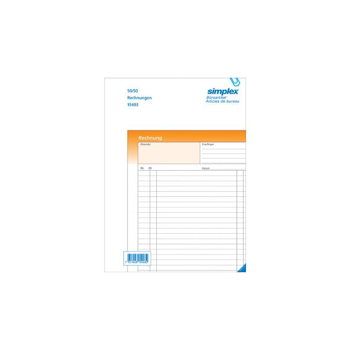 SIMPLEX bollette D A6 arancione/bianco 50x2 fogli