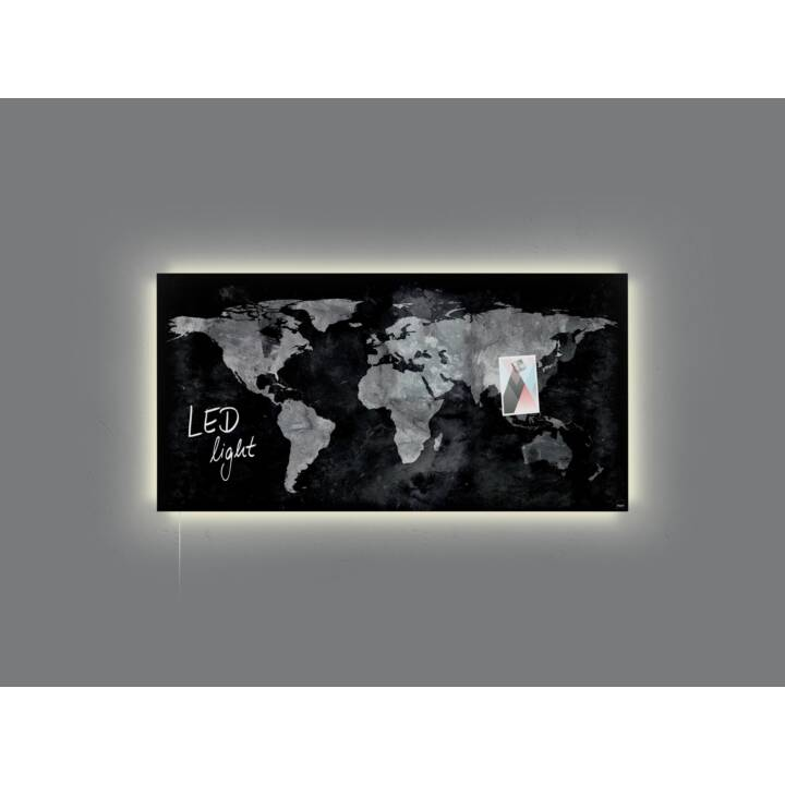 SIGEL Glassboard LED artverum World-Map