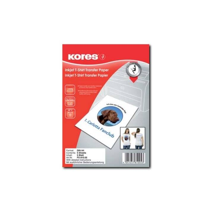 KORES transfer carta da stirare su 5 fogli - 5 fogli - A4