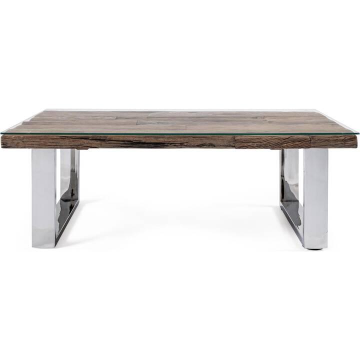 MUTONI LIFESTYLE Tavolino da salotto (40 cm, Marrone, Cromo, Metallo argenteo)