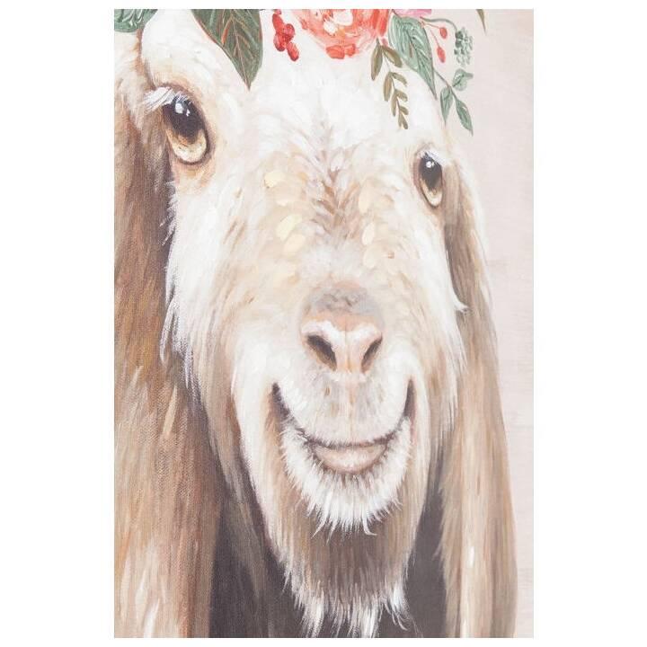KARE Image avec cadre Touched Flowers Goat (Multicolore)