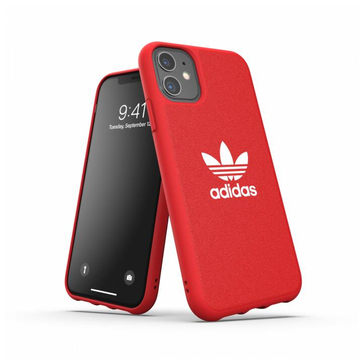 ADIDAS Backcover Moulded Canvas (iPhone 11, Rosso, Bianco)