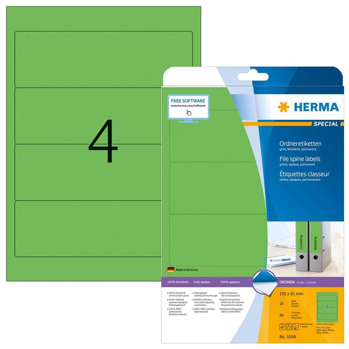 HERMA Ettiquettes (A4, 192 x 61 mm, 20 feuille)