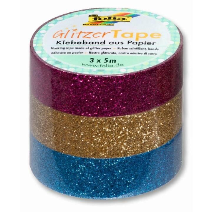 FOLIA Nastro adesivo glitter (Oro, Blu, Pink, 5 m)
