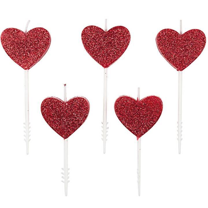 RICO DESIGN Heart Candela di compleanno (Rosso, 5 pezzo)