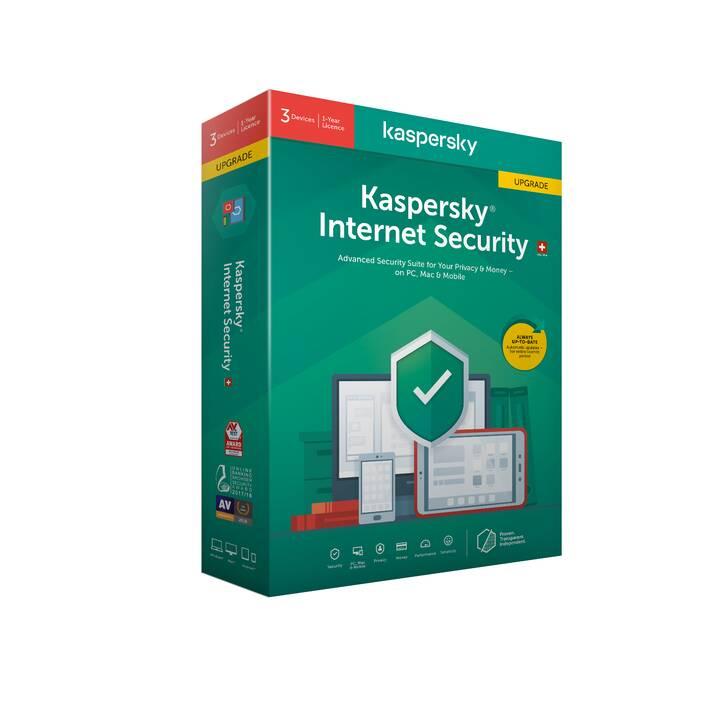 KASPERSKY LAB Internet Security Upgrade (Abbonamento, 3x, 1 anno, Francese, Tedesco, Italiano)
