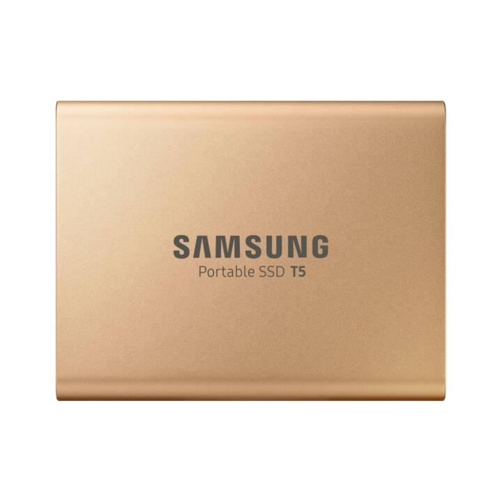 SAMSUNG Portable T5 (USB 3.1, 1 TB, Doré)