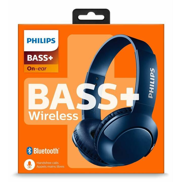PHILIPS Bass+ SHB3075 (On-Ear, Bluetooth, Blu)