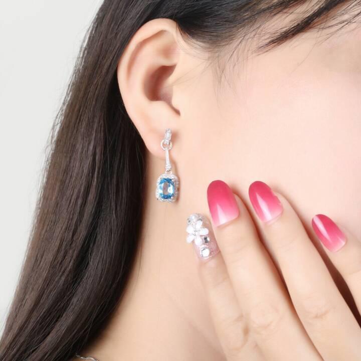 EG 925 Silber Ohrringe mit künstlichem Topas