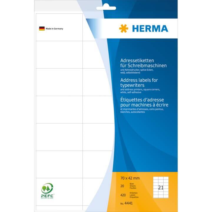 Etiquettes d'adresse HERMA pour machines à écrire A4 70x42 mm 420 pièces