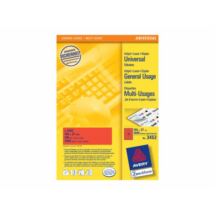AVERY ZWECKFORM Etiketten, 105×37mm, A4, 1600 Stück