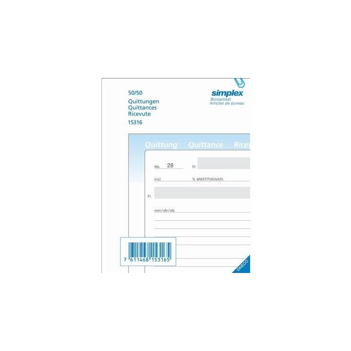 SIMPLEX ricevute D/F/I A6 Carta autocopiante 50x2 fogli