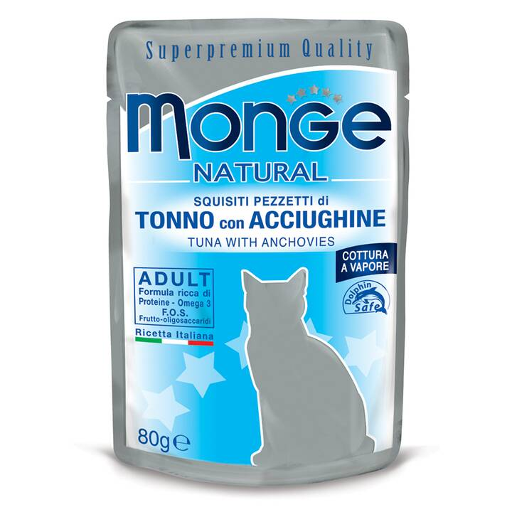 MONGE Natural (Adult, 80 g, Reis, Thunfisch, Anchovis)