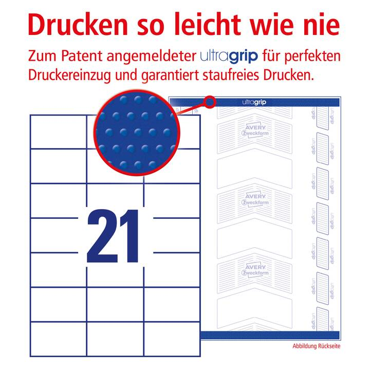 AVERY ZWECKFORM 3652 ultragrip Etichette (A4, 70 x 42.3 mm, 100 foglio)