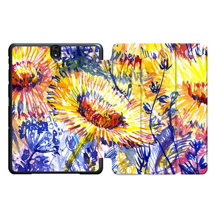 """EG MTT Sacoche à comprimés avec housse Smart pliable pour Samsung Galaxy Tab S3 9.7"""" - Fleurs jaunes"""