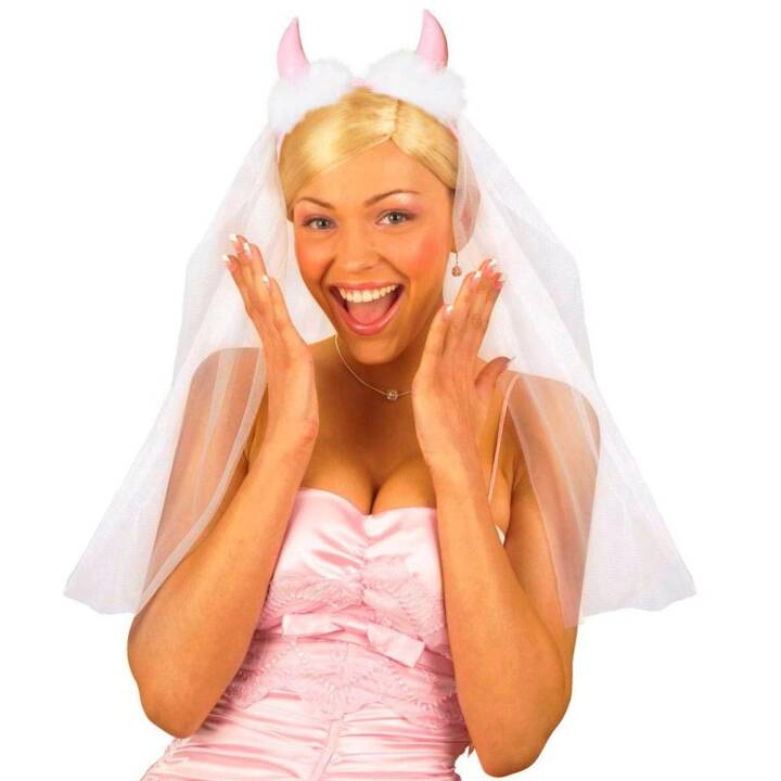 WIDMANN Brautschleier mit Hörner Accessoires de déguisement