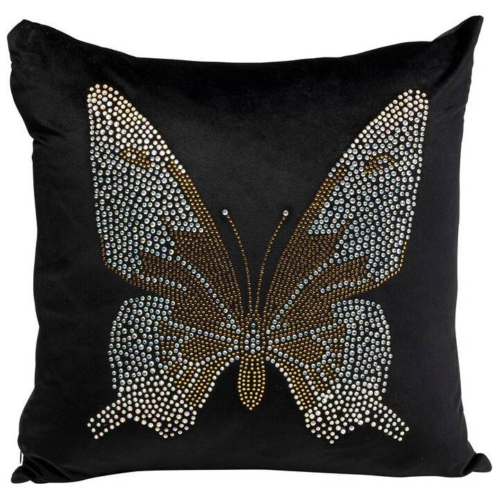 KARE Diamond Butterfly Cuscino (45 cm x 45 cm, Nero)