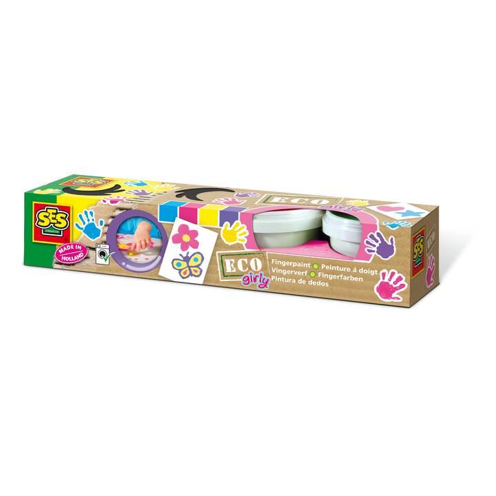SES CREATIVE Colore a dita Eco Girly (100 ml, Multicolore)
