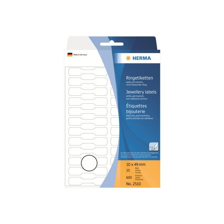 Etiquettes circulaires HERMA 49x10mm blanc