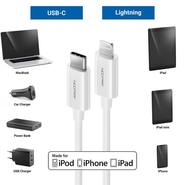 DELEYCON Câble (USB Typ-C, Fiche Lightning, 2 m)