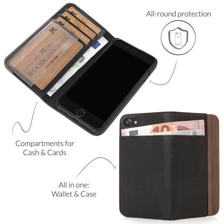 WOODCESSORIES Flipcover EcoWallet (iPhone 11 Pro, Marrone, Nero)
