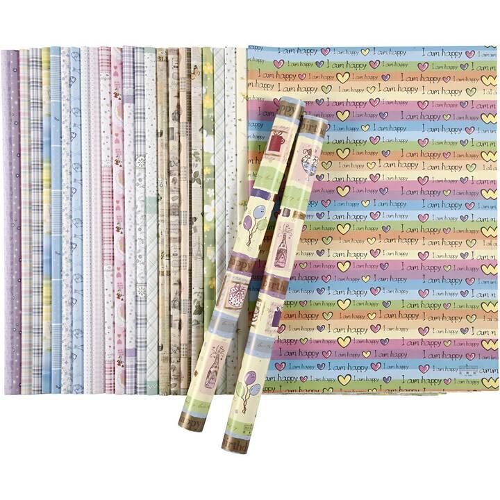 CREATIV COMPANY Papier cadeau (520 mm x 750 mm, Multicolore, Façonné)