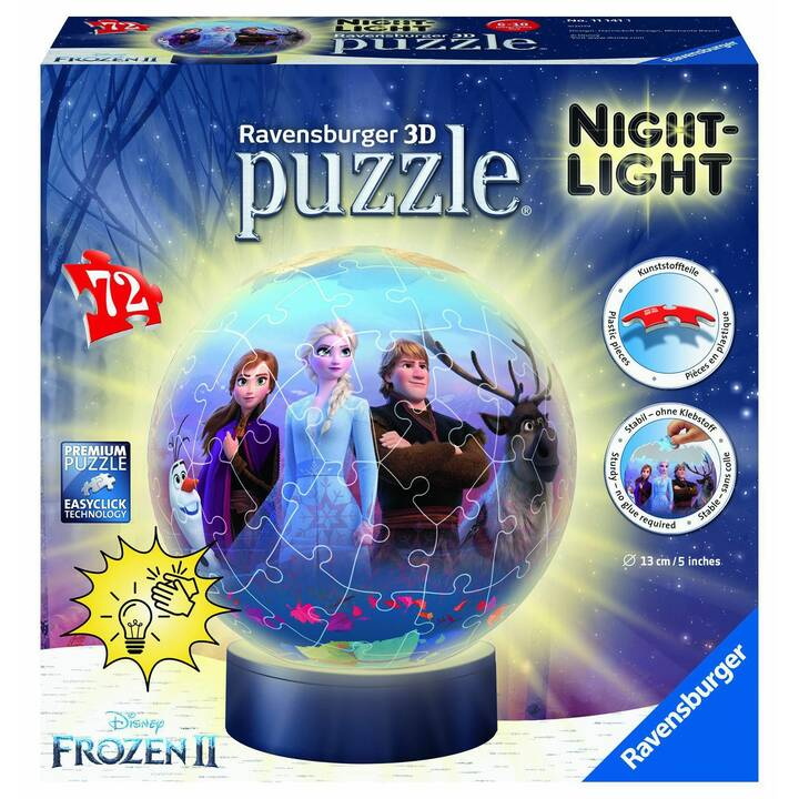 RAVENSBURGER Frozen 2 Nightlight (72 Stück, 3D Puzzle)