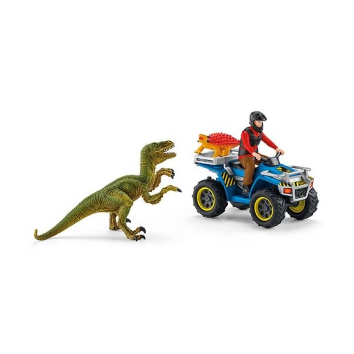 SCHLEICH Flucht auf Quad vor Velociraptor (3 pezzo)