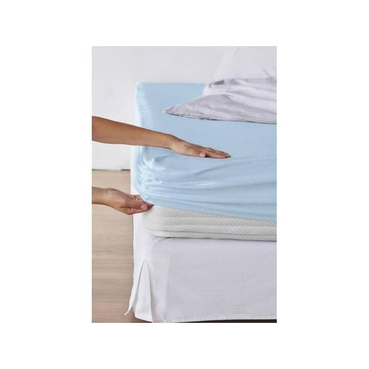 LIVING HOME Drap-housse Frottee Fix (90 cm x  100 cm x 190 cm x 200 cm, Bleu clair)