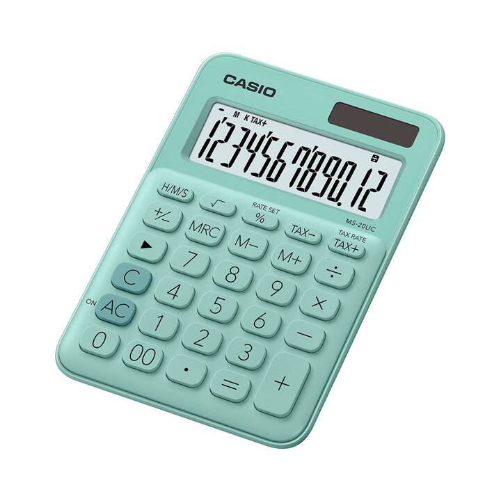 CASIO MS-20UC-GN Calculatrice de bureau simple CASIO Calculatrice de poche verte